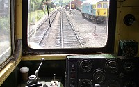 In the cab of a class 20 loco at Toddington, on the Gloucestershire and Warwickshire Railway - click to enlarge