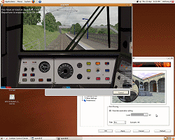 openBVE v1.0.2.0 running in Ubuntu 9.04--click to enlarge
