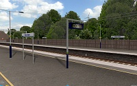 openBVE / Watford Junction to Rugby screenshot showing animated digital clock - click to enlarge